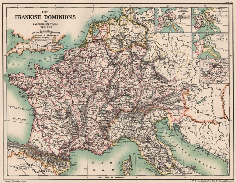 CAROLINGIAN EMPIRE 768-900. Frankish Dominions. Partition Pippin Verdun 1902 map