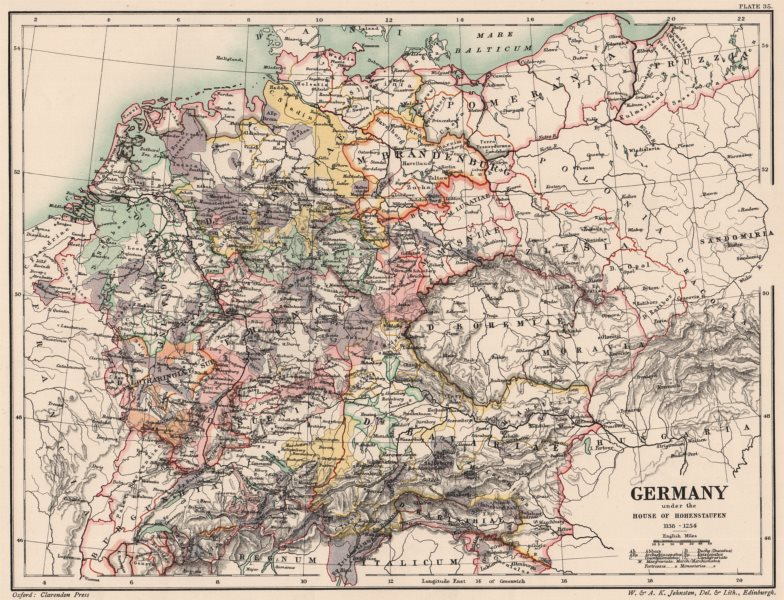 Associate Product GERMANY 1138-1254. under the House of Hohenstaufen 1902 old antique map chart