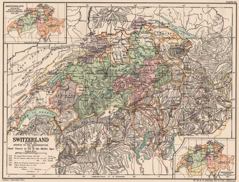 Associate Product GROWTH OF SWITZERLAND.Medieval passes used.19/22 cantons Mediation 1815 1902 map