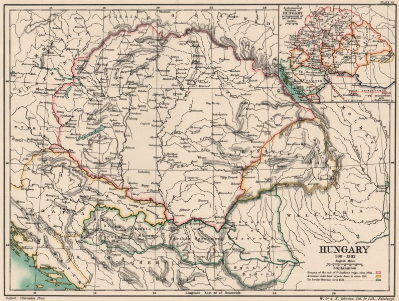 Associate Product HUNGARY 998-1382. inset Ecclesiastical divisions c1200 1902 old antique map