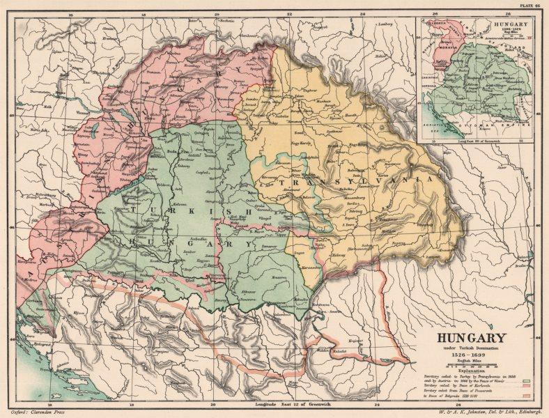 Associate Product HUNGARY 1526-1699. under Turkish domination. Inset in 1396-1526 1902 old map