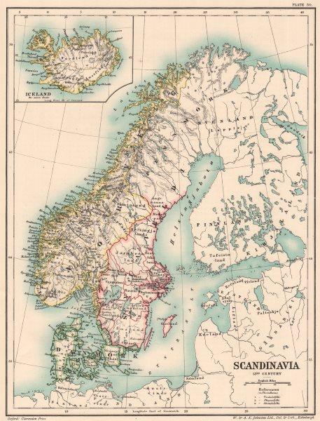 Associate Product 13TH CENTURY SCANDINAVIA. Danmork Norveg Sviaveldi Iceland 1902 old map