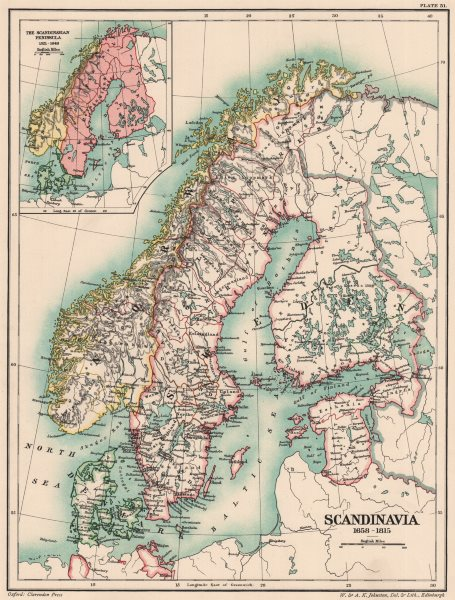 Associate Product SCANDINAVIA 1658-1815. 17th 18th 19th centuries. Inset 1521–1648 1902 old map