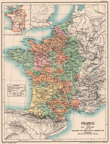 Associate Product 13C FRANCE.Treaties of Paris 1259 Amiens 1279.Baillages & Senechaussées 1902 map