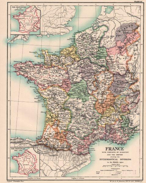 Associate Product FRANCE.Burgundy & Empire.Medieval ecclesiastical division.10C provinces 1902 map