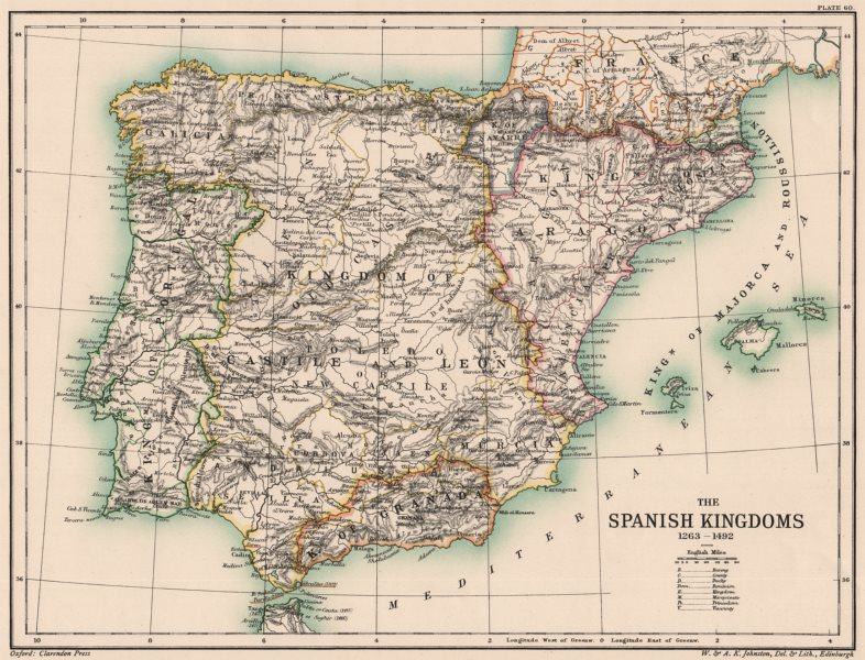 Associate Product IBERIA. Spain. The Spanish Kingdoms 1263-1492. Portugal 1902 old antique map