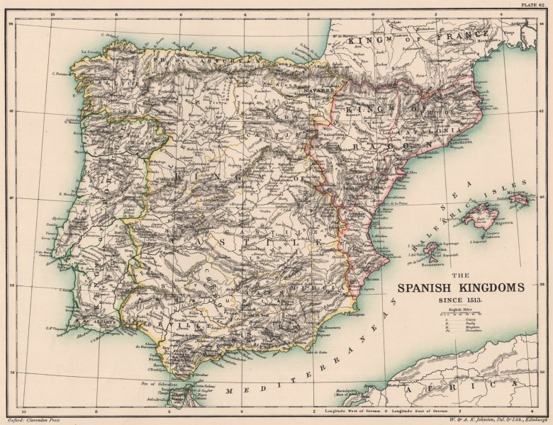 Associate Product IBERIA. Spain. The Spanish Kingdoms since 1513 1902 old antique map plan chart