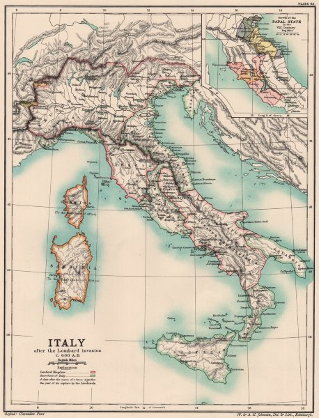 Associate Product ITALY 600AD. after Lombard invasion. 8th Century Papal States growth 1902 map