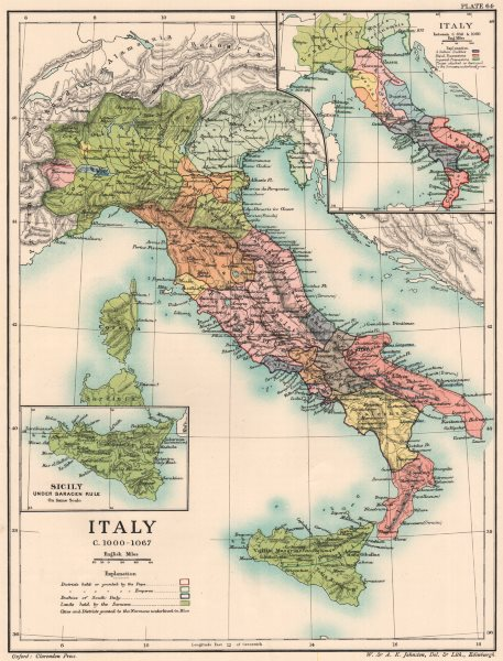 Associate Product ITALY C1000-1067. inset Italy from c850-1000 & Saracen Sicily 1902 old map