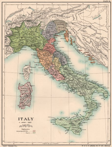 Associate Product ITALY C1060-1167. 12th century Italy 1902 old antique vintage map plan chart