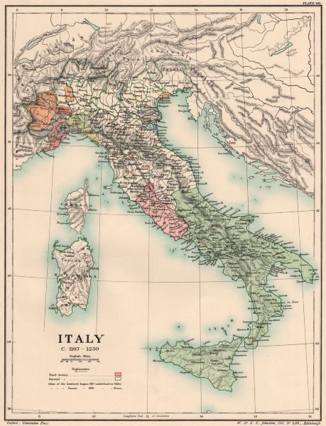 Associate Product ITALY C1167-1250. 12th & 13th century Italy 1902 old antique map plan chart
