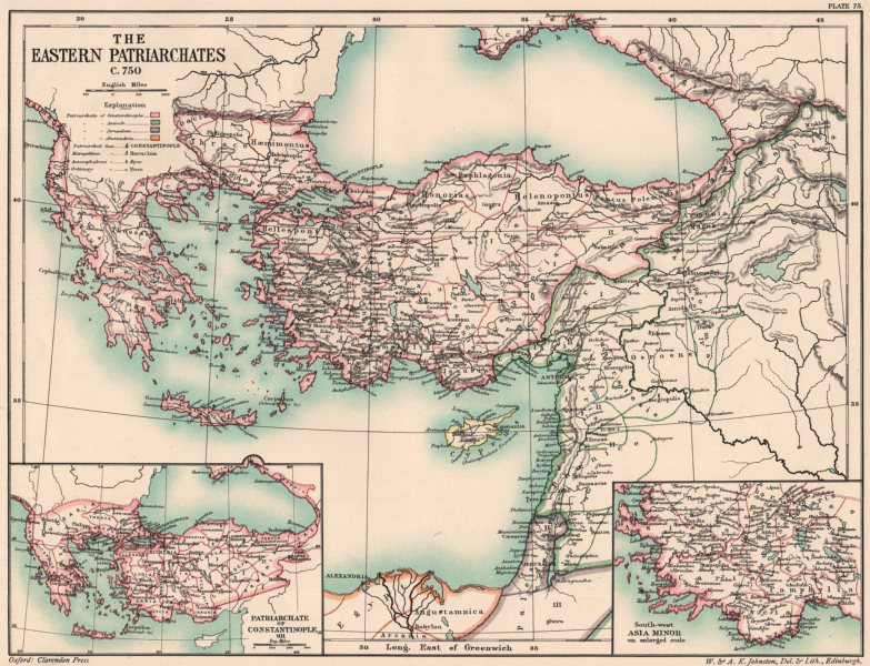 Associate Product EASTERN PATRIARCHATES C750.Constantinople(Istanbul)Antioch Alexandria 1902 map