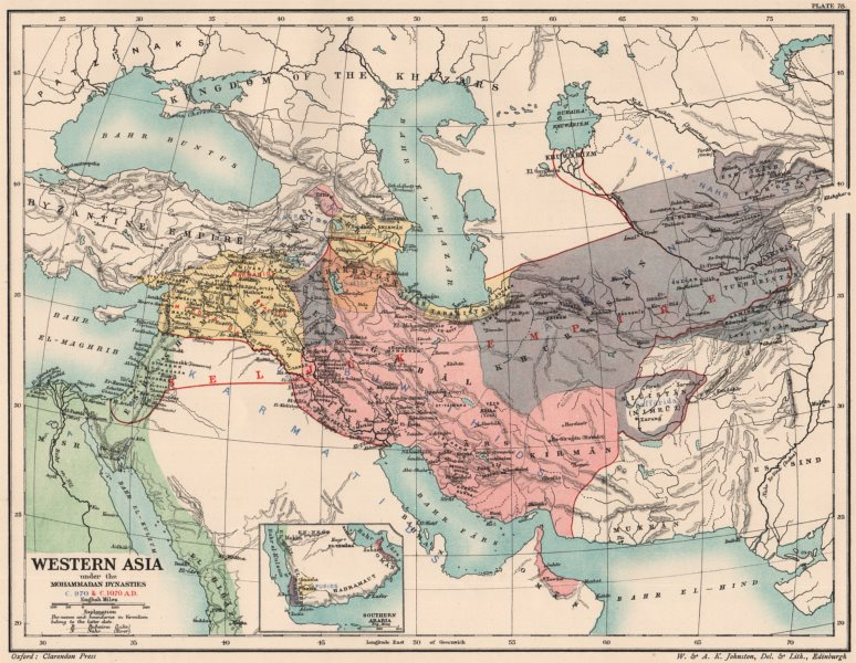 Associate Product WESTERN ASIA 970-1070 AD. under the Mohammadan Muslim Dynasties 1902 old map