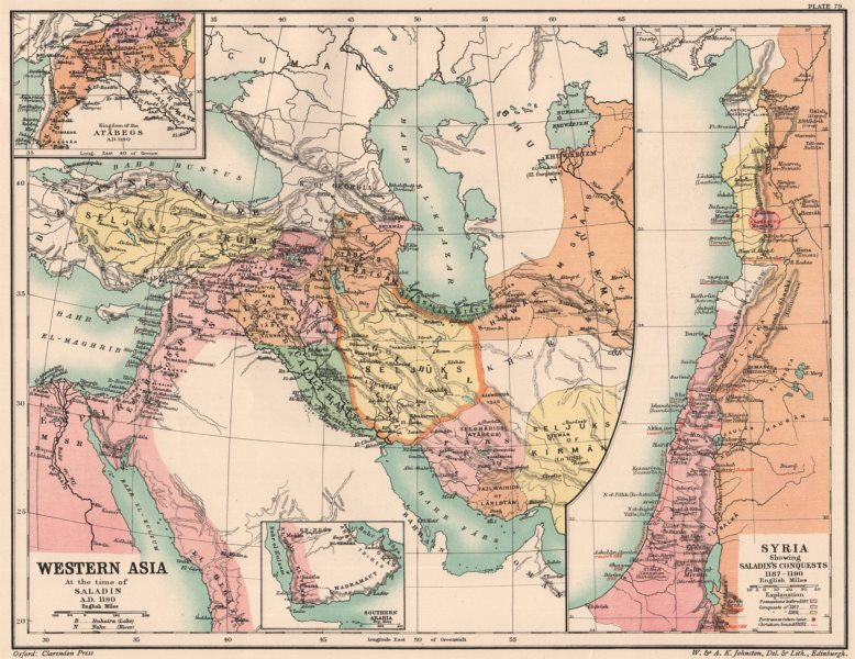 Associate Product WESTERN ASIA 1190. Saladin's Syrian conquests. Atabegs Kingdom 1160 1902 map