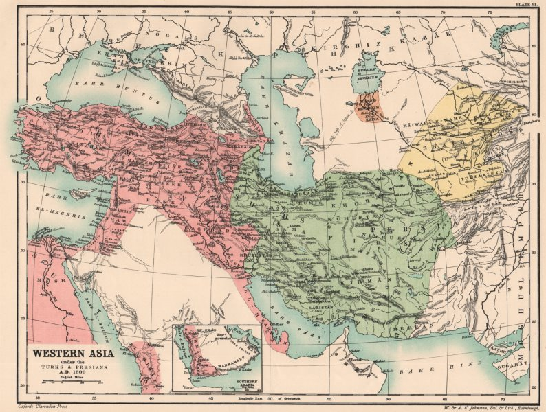Associate Product WESTERN ASIA IN 1600 AD. under the Turks & Persians 1902 old antique map chart