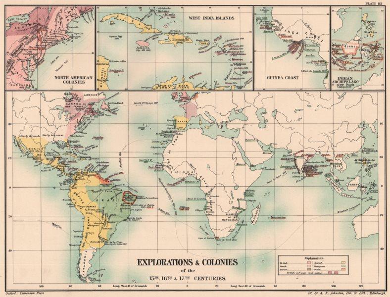 Associate Product EUROPEAN EXPLORATION/COLONIES. 15C 16C 17C. Americas Indies Africa 1902 map