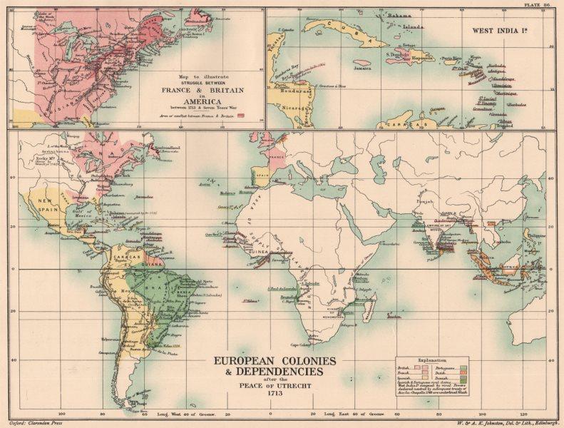 Associate Product EUROPEAN COLONIES 1713. Peace of Utrecht. Americas. France v Britain 1902 map