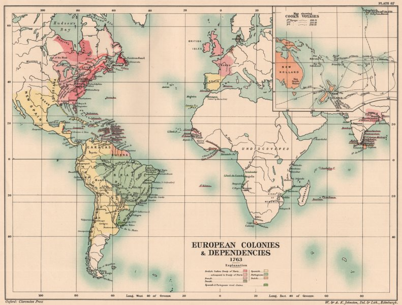 Associate Product EUROPEAN COLONIES 1763. British French Spanish Dutch. Cook's Voyages 1902 map
