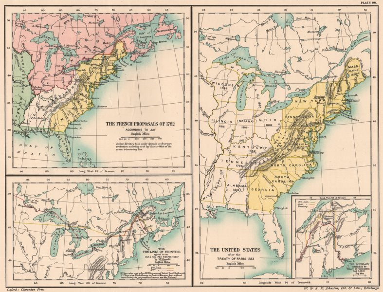 Details about USA-TREATY OF PARIS 1783. French proposals 1782. Canada  treaty 1842 1902 map