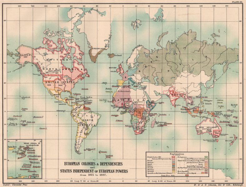 Associate Product EUROPEAN COLONIES/DEPENDENCIES. World from 1815-1897. 19th Century 1902 map