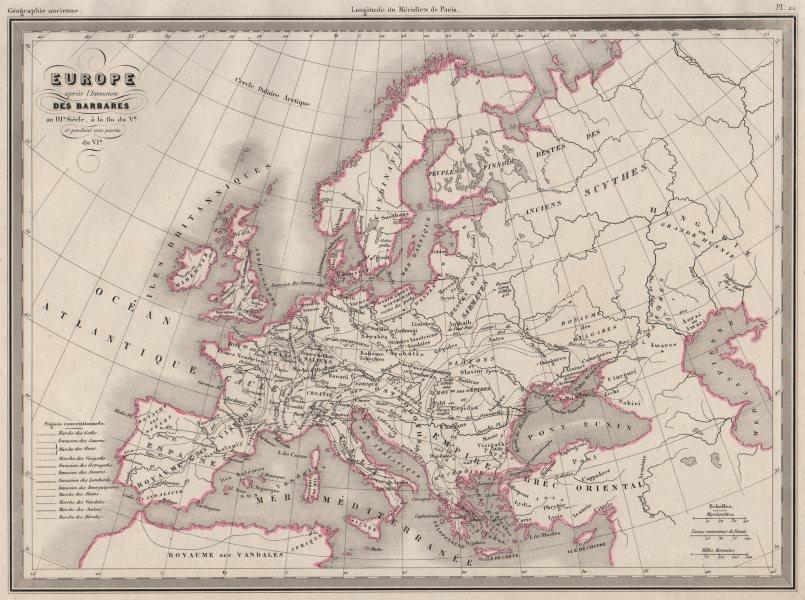 Associate Product EUROPE.Après invasion des Barbares.post Barbarian migration.MALTE-BRUN c1846 map