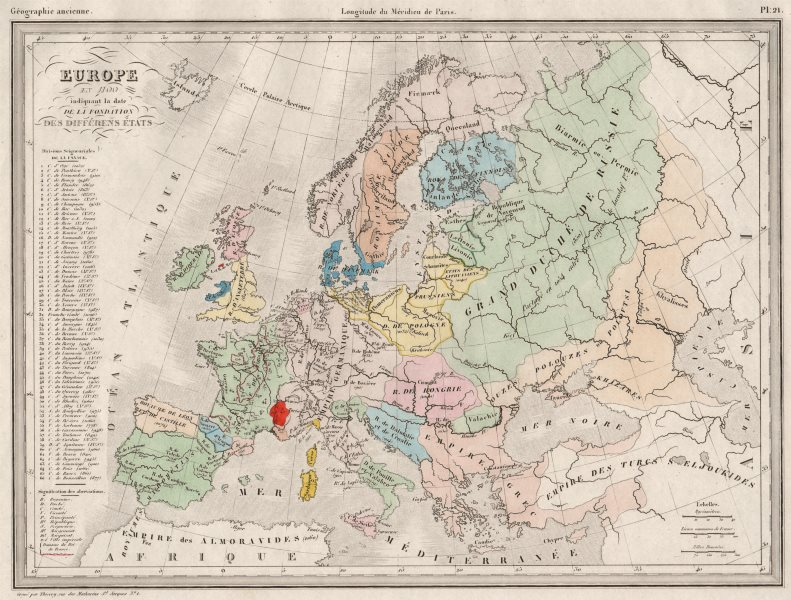 Associate Product EUROPE IN 1100. showing date of foundation of each state. MALTE-BRUN c1846 map