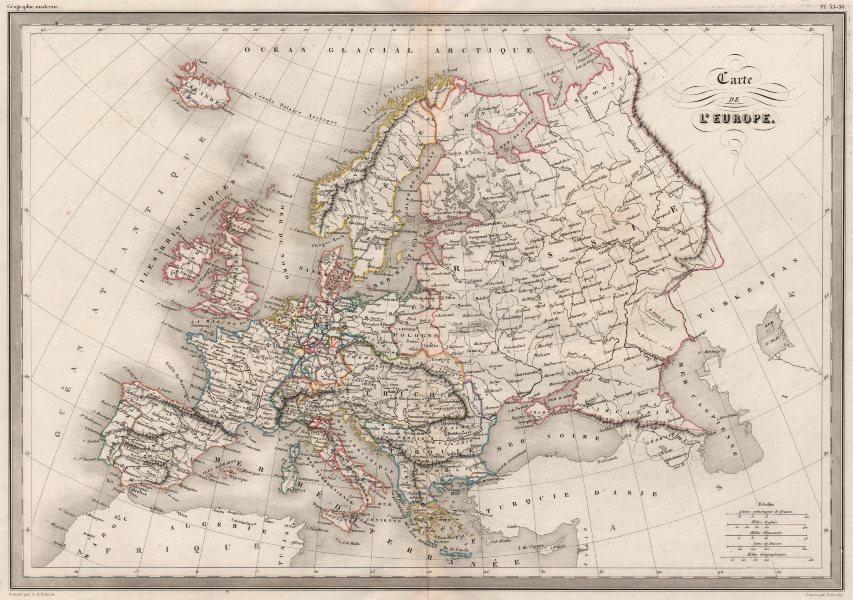 Associate Product EUROPE POLITICAL. Carte de L' Europe. Original colour. MALTE-BRUN c1846 map