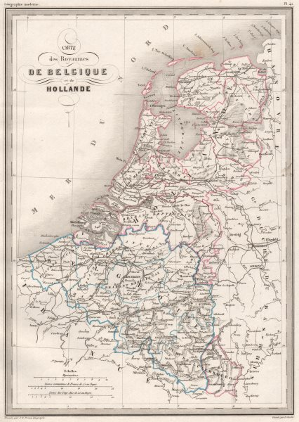 BENELUX. Royaumes de Belgique & Hollande. Original colour. MALTE-BRUN c1846 map
