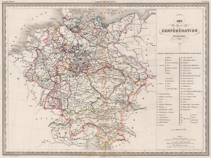 Associate Product GERMANY. Confédération Germanique. Outline colour. MALTE-BRUN c1846 old map