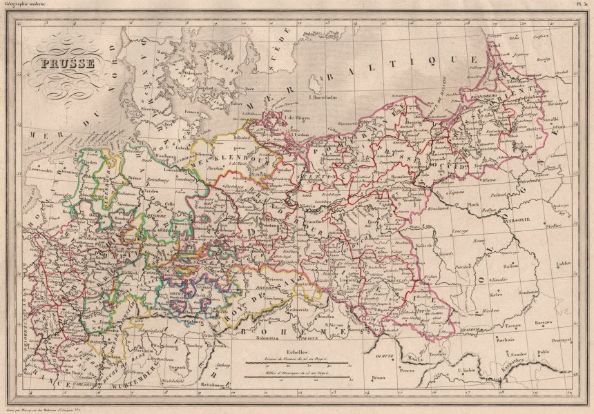 Associate Product PRUSSIA. Prusse. Original outline colour. MALTE-BRUN c1846 old antique map