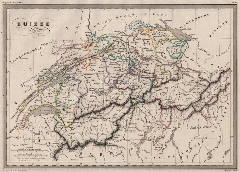 SWITZERLAND. Suisse. Cantons. Original outline colour. MALTE-BRUN c1846 map