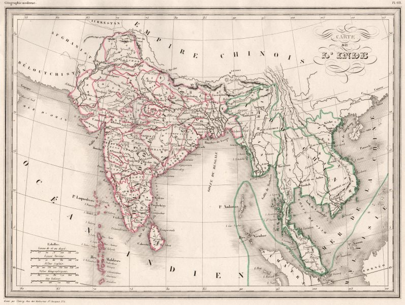Carte Inde Maps.Details About South Asia Carte De L Inde India Indochina Malte Brun C1846 Old Map