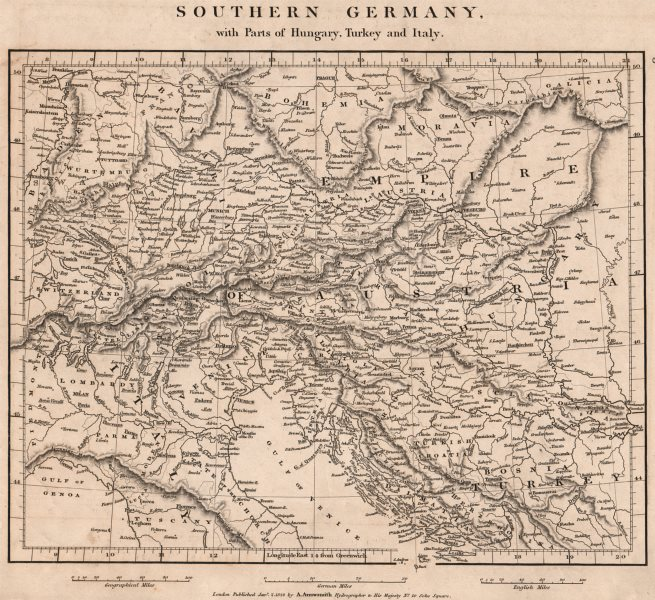 Associate Product CENT. EUROPE. Southern Germany. Parts Hungary Turkey Italy. ARROWSMITH 1828 map