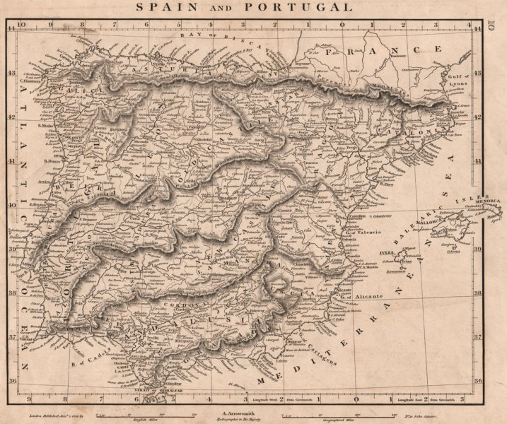Associate Product IBERIA. Spain and Portugal General map. ARROWSMITH 1828 old antique chart