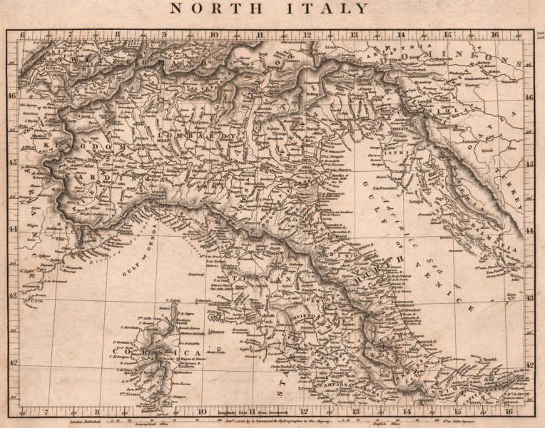 Associate Product NORTHERN ITALY. Papal States. Sardinia Lombardy Tuscany. ARROWSMITH 1828 map