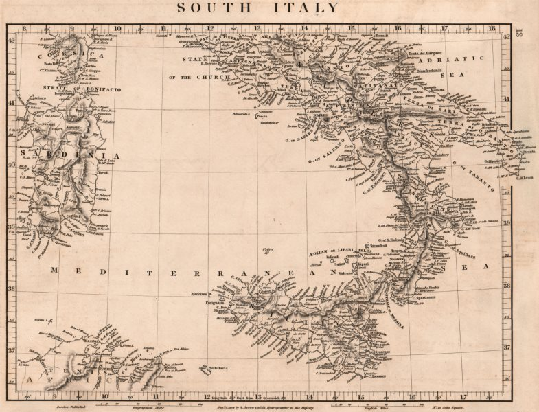 Associate Product ITALY SOUTH. General map. Sardinia Sicily. ARROWSMITH 1828 old antique