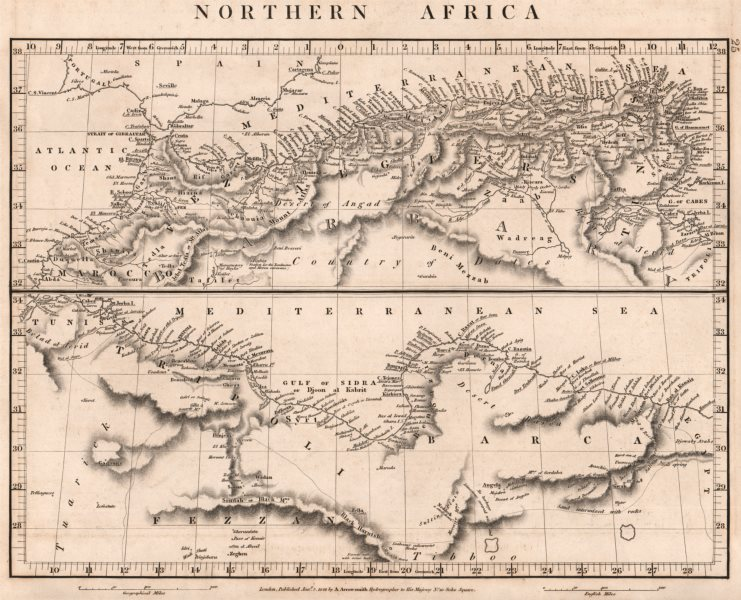Associate Product NORTHERN AFRICA.Maghreb.Marocco Algiers Tunis Tripoli Barca.ARROWSMITH 1828 map