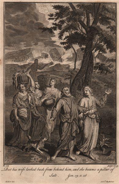Associate Product BIBLE. Genesis 19.26 She became a pillar of salt 1752 old antique print