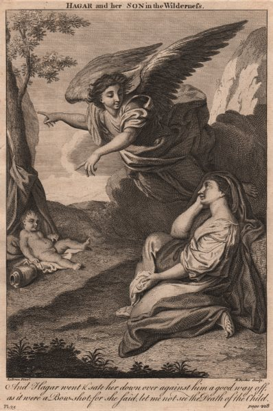 Associate Product BIBLE. Genesis 21.16 Hagar and her son in the Wilderness 1752 old print