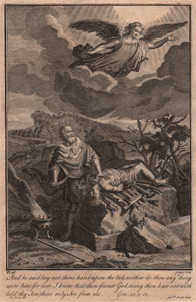 Associate Product BIBLE. Genesis 22.12 He said, lay not thine hand upon the lad 1752 old print