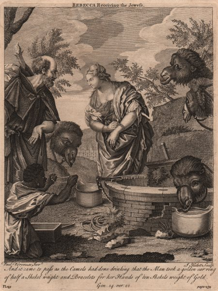 BIBLE. Genesis 14.22 Rebecca receiving the Jewess 1752 old antique print