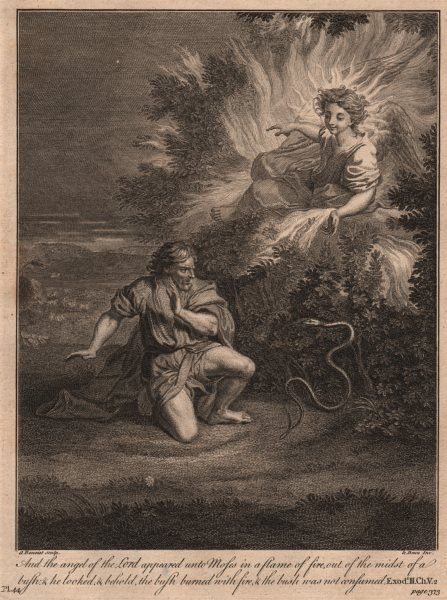 Associate Product BIBLE. Exodus 3.2 Behold the bush burned with fire and was not consumed 1752