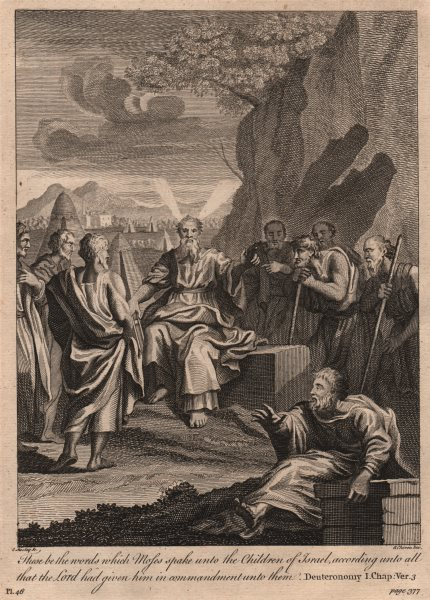 Associate Product BIBLE. Deuteronomy 1.3 These be the words which Moses spake unto… 1752 print