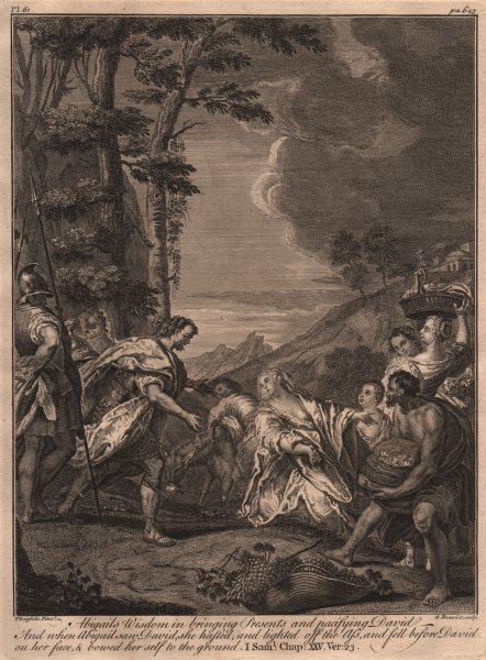 Associate Product BIBLE. 1 Samuel 25.23 Abigails Wisdom bringing presents & pacifying David 1752