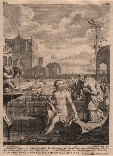 Associate Product BIBLE. 2 Samuel 11.2-4 The woman was very beautiful to look upon 1752 print