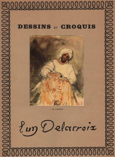 "EUGENE DELACROIX. ""Type Mauresque"". Moor. Morocco. Litho of watercolour 1947"