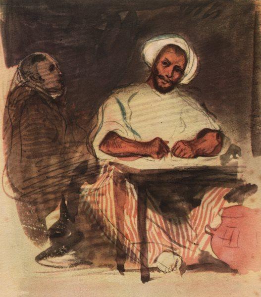 "Associate Product EUGENE DELACROIX. ""L'ecrivain Arabe"" Arab scribe. Litho of watercolour 1947"