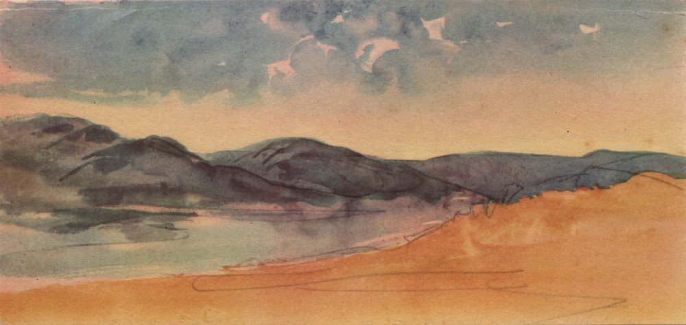 """Associate Product EUGENE DELACROIX. """"Paysage Tangiers (Tanger) ~. Morocco. Litho watercolour 1947"""