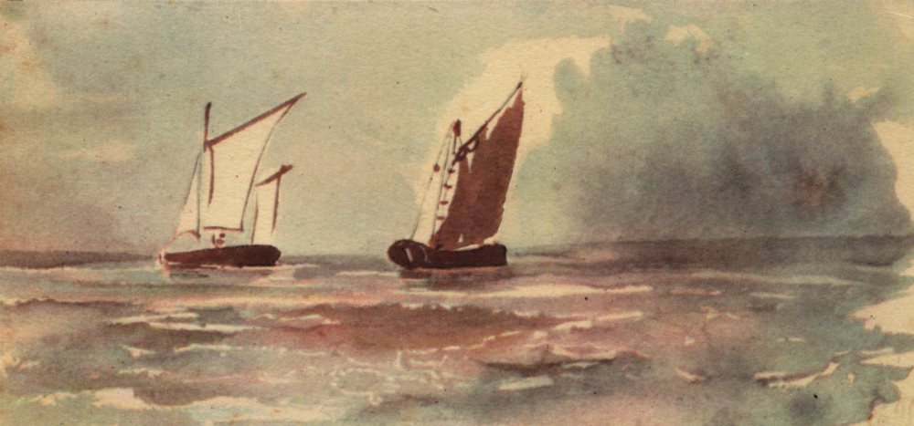 """Associate Product EUGENE DELACROIX. """"Marine"""". Boats. Lithograph of watercolour 1947 old print"""