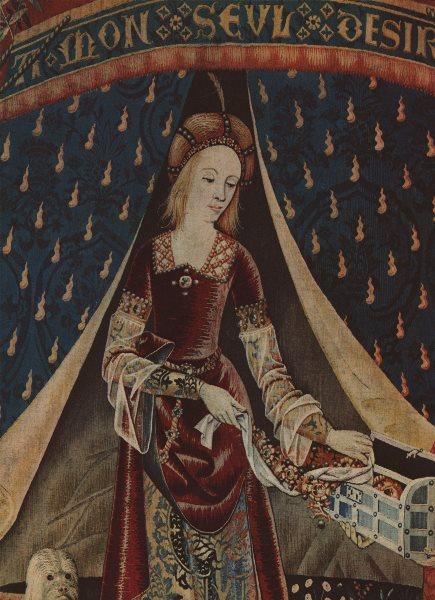 PRETTY LADIES. La Dame a la Licorne. 15C tapestry. Musee de Cluny 1947 print